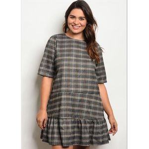 Dresses & Skirts - 'Nearly There' Grey Plaid Ruffle Dress (CURVY)